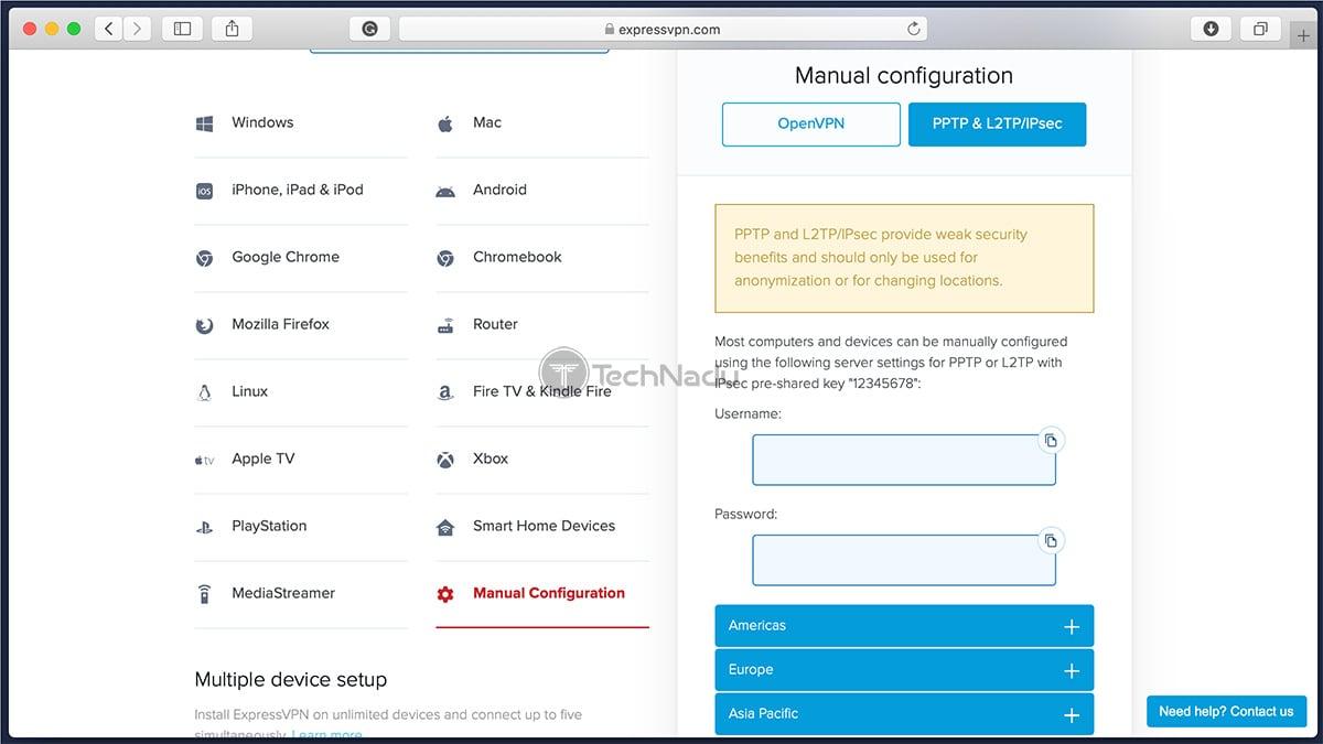 Manual Configuration ExpressVPN User Dashboard