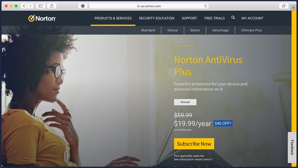 Norton Antivirus Homepage