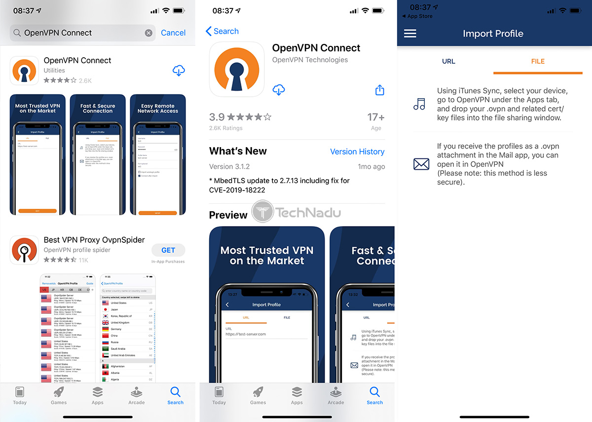 OpenVPN Connect App iOS