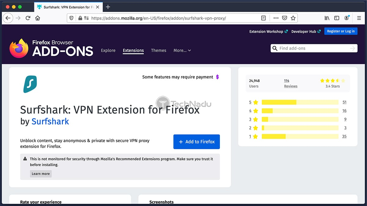 Surfshark VPN Extension Firefox Overview