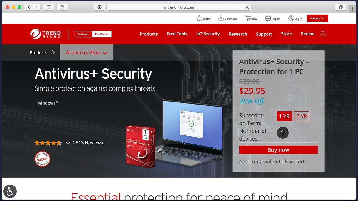Trend Micro Antivirus Homepage