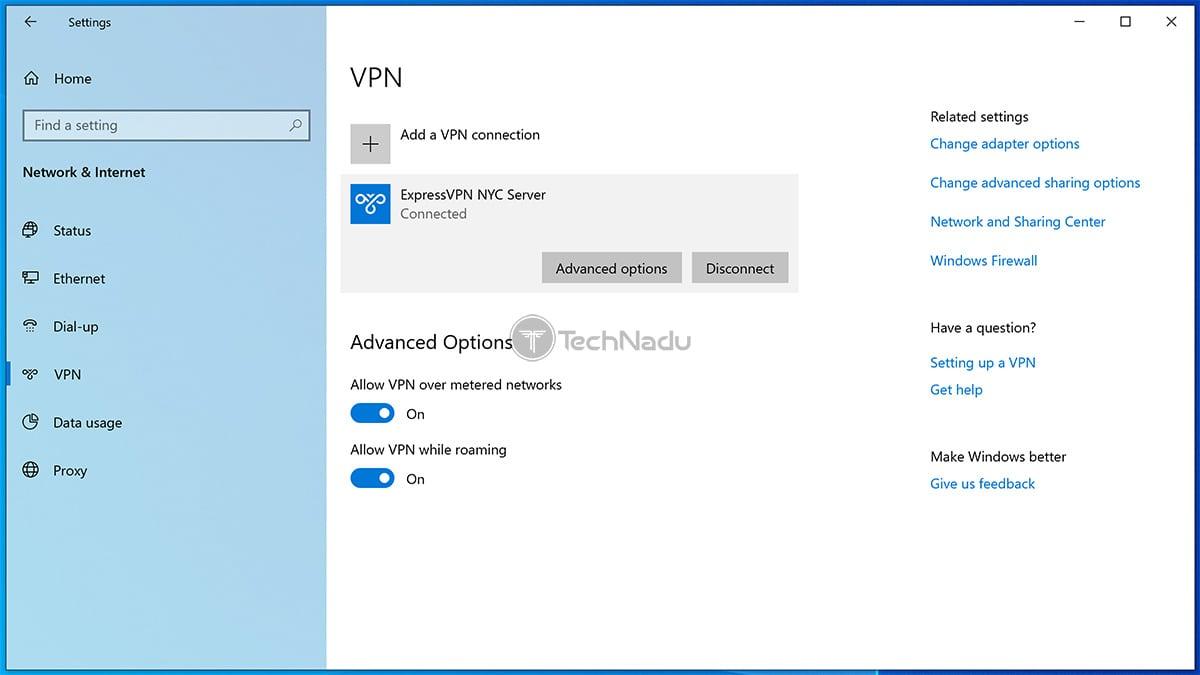 VPN Connections Settings App Windows 10