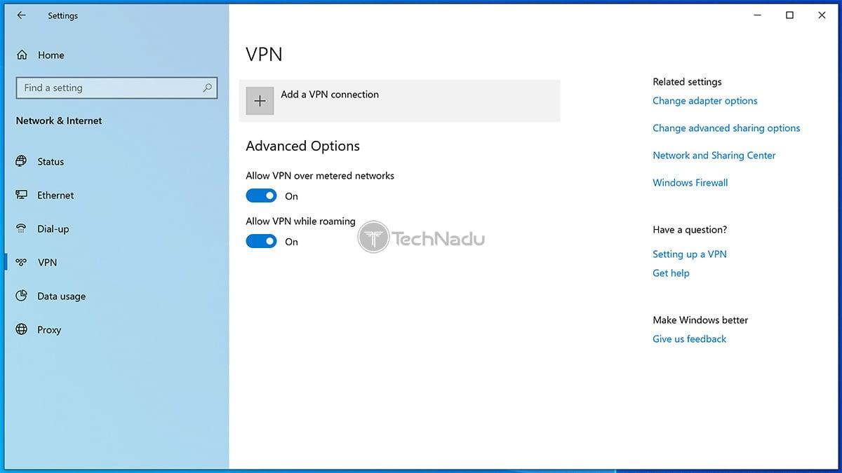 VPN Settings Windows 10
