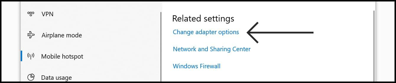 Windows 10 Adapter Settings