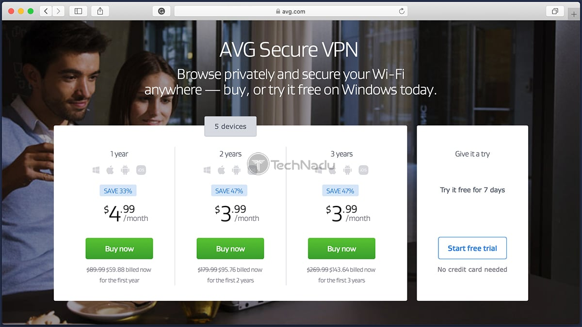 AVG Secure VPN Trial Signup