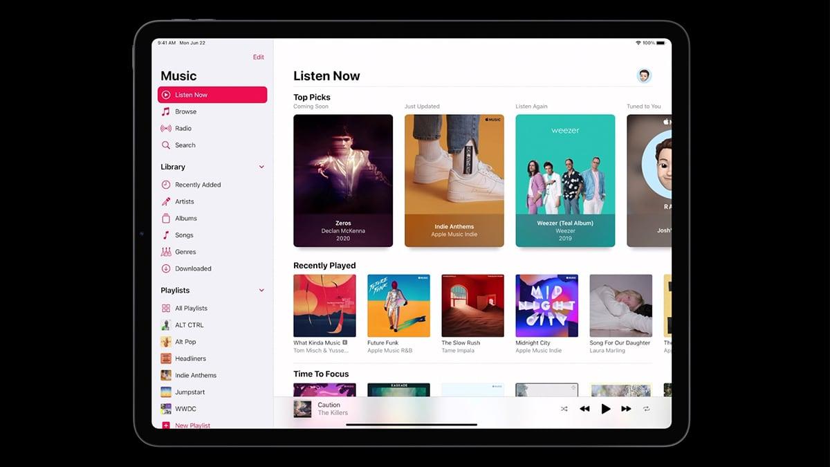 Apple Music UI iPadOS 14