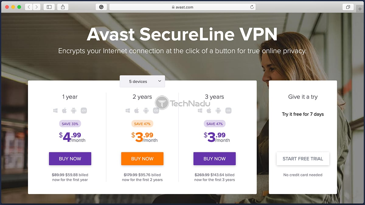 Avast SecureLine VPN Trial SignUp Page
