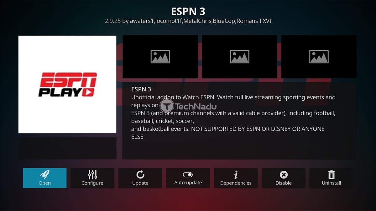 ESPN3 Kodi Addon Overview