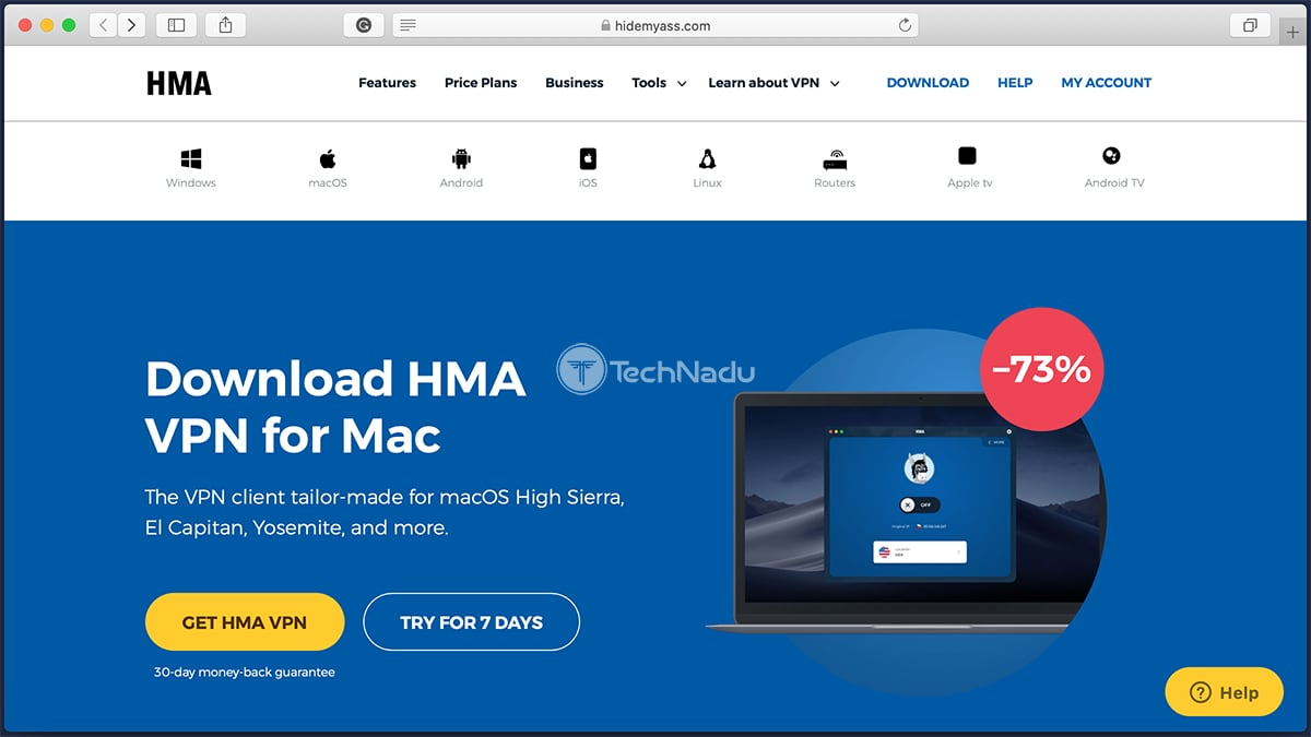 HMA VPN Trial Page