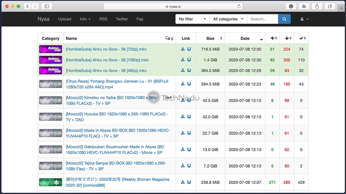 NYAA P2P Site Homepage
