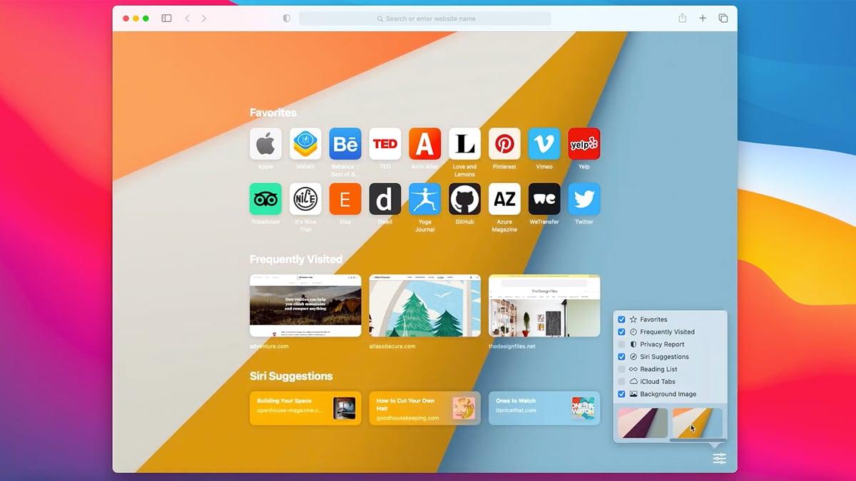 Safari 14 UI on MacOS Big Sur