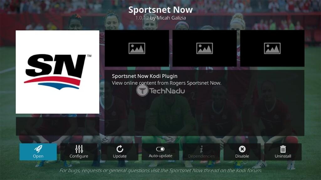 Sportsnet Now Kodi Addon Overview