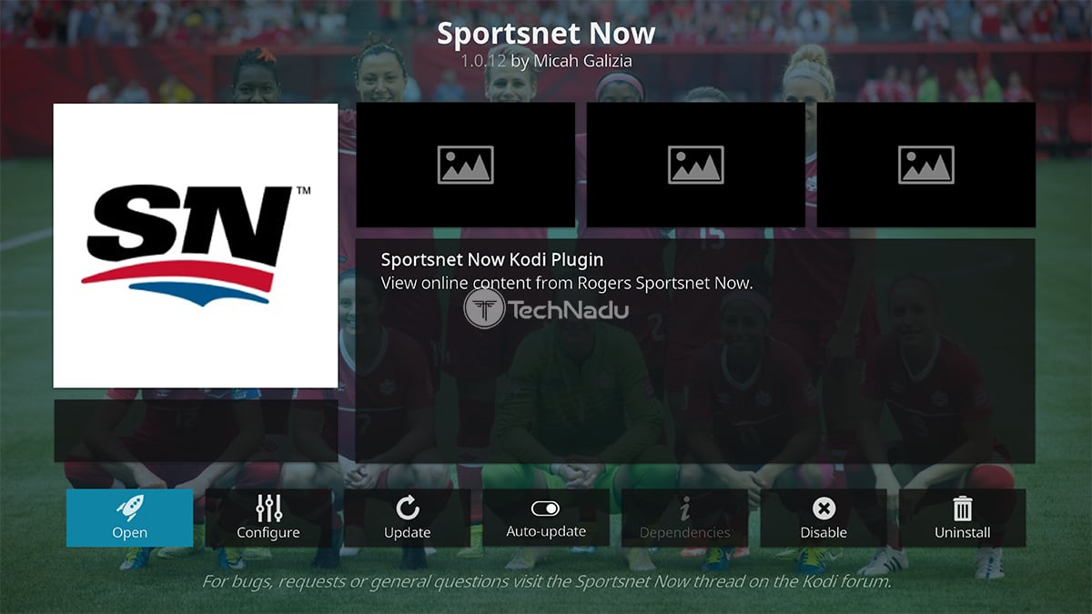 Sportsnet Now Kodi Addon Overview