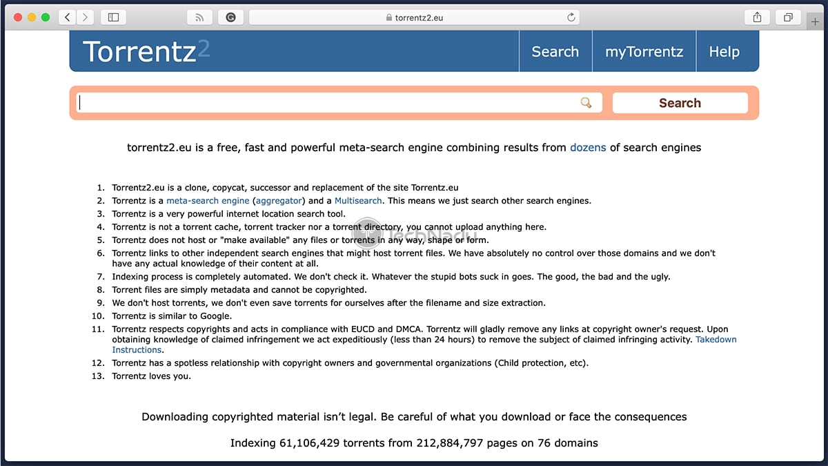 Torrentz2 Search Engine Homepage