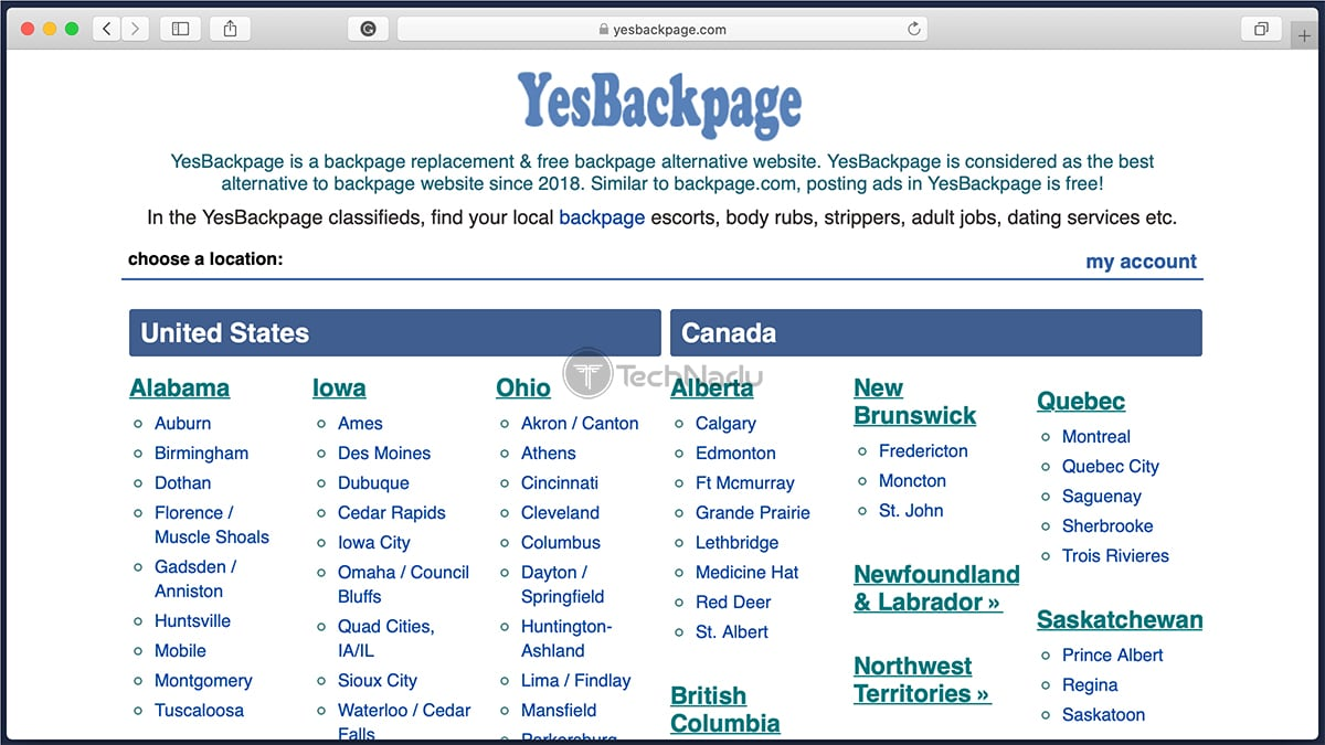 YesBackpage Classifieds