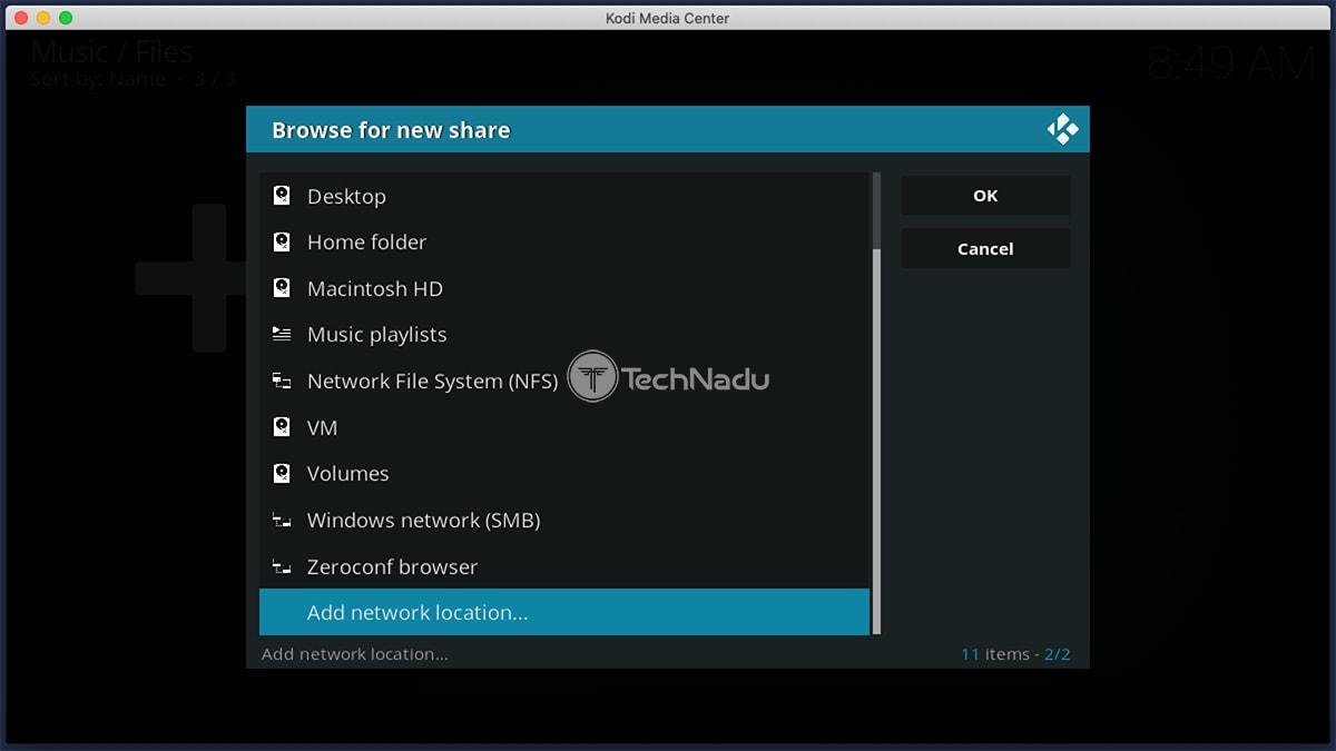 Adding Network Location in Kodi