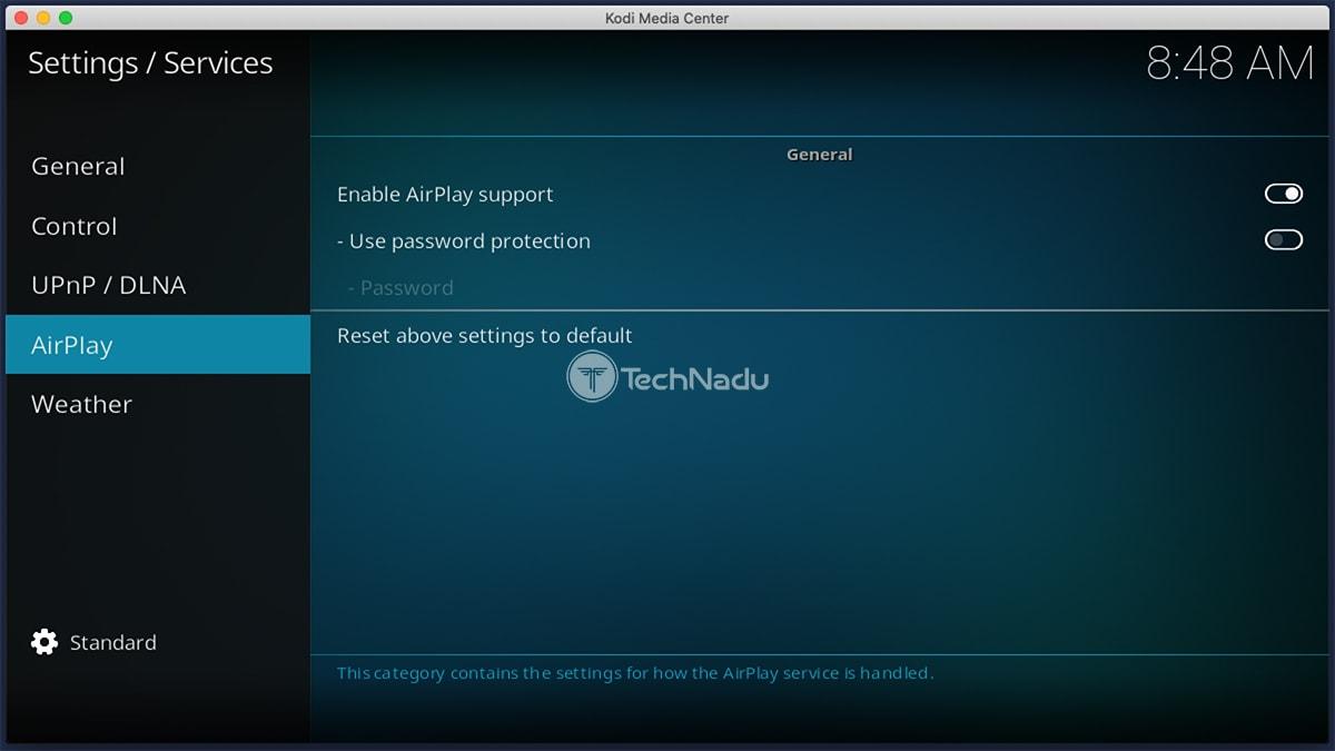 AirPlay Settings Kodi