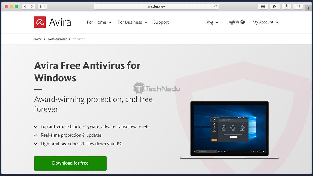 Avira Antivirus Free Homepage