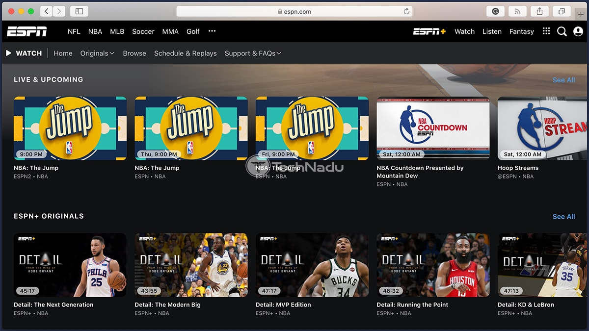ESPN Website NBA Video Section