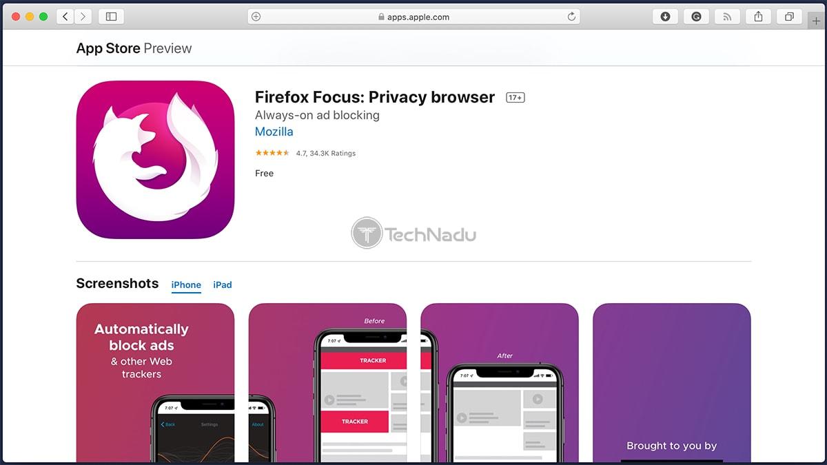 Firefox Focus iOS App Store Overview