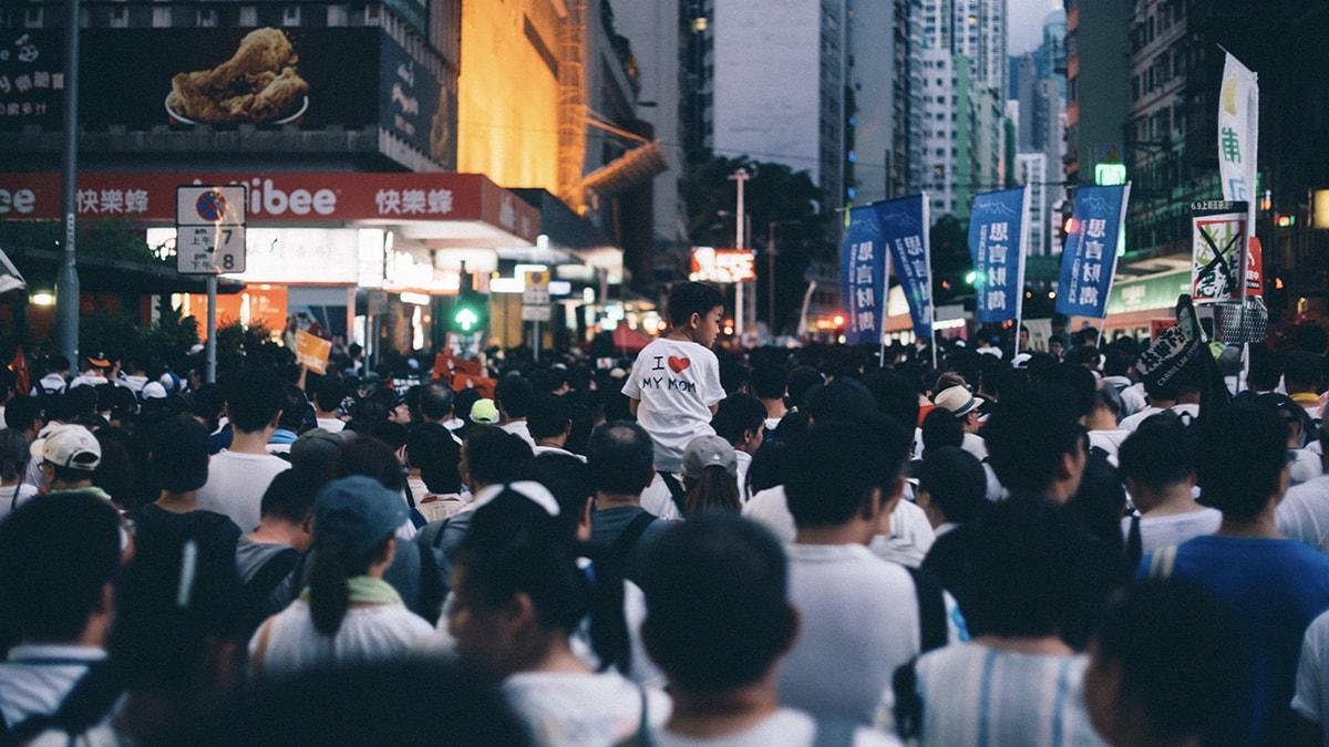 Hong Kong People Marching Street