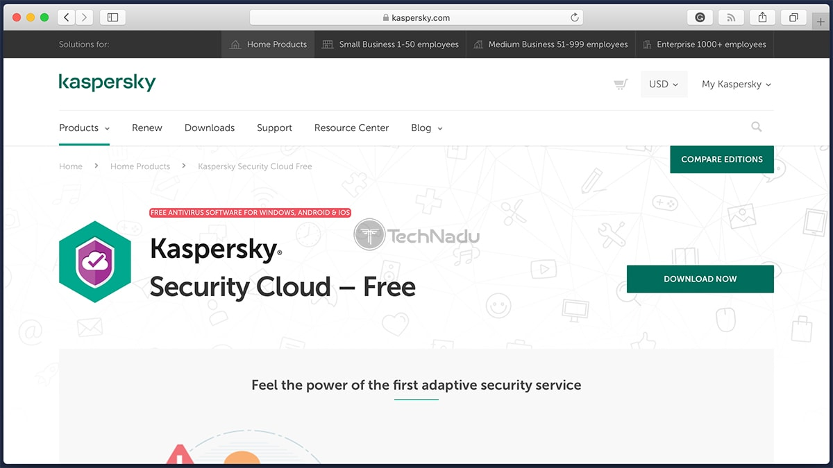 Kaspersky Security Cloud Free Antivirus Homepage
