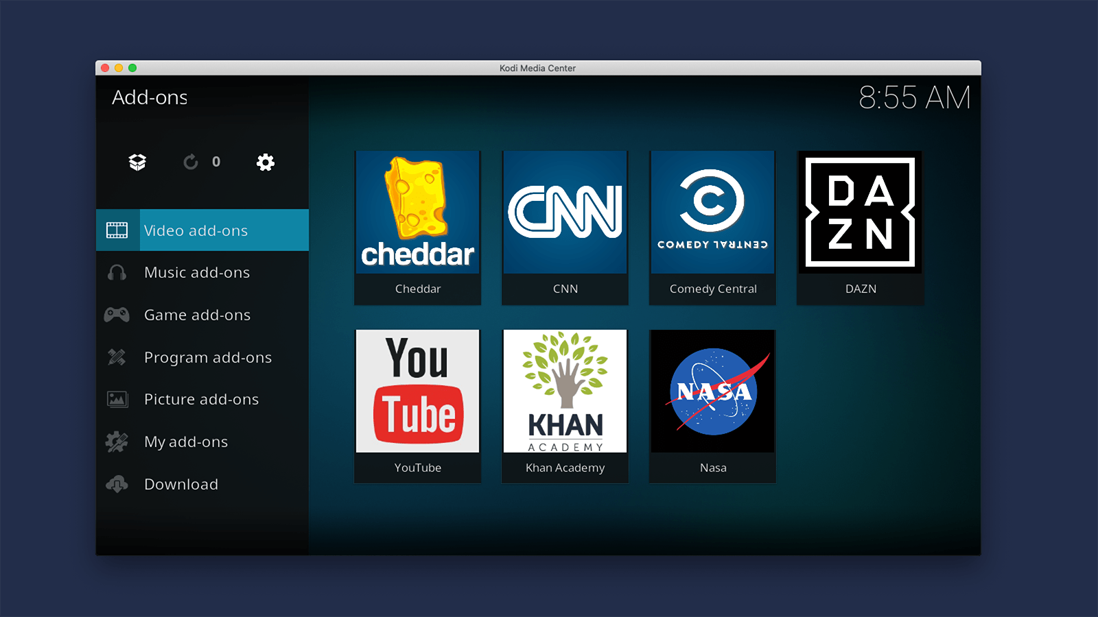 Kodi Interface Showing Video Addons Installed