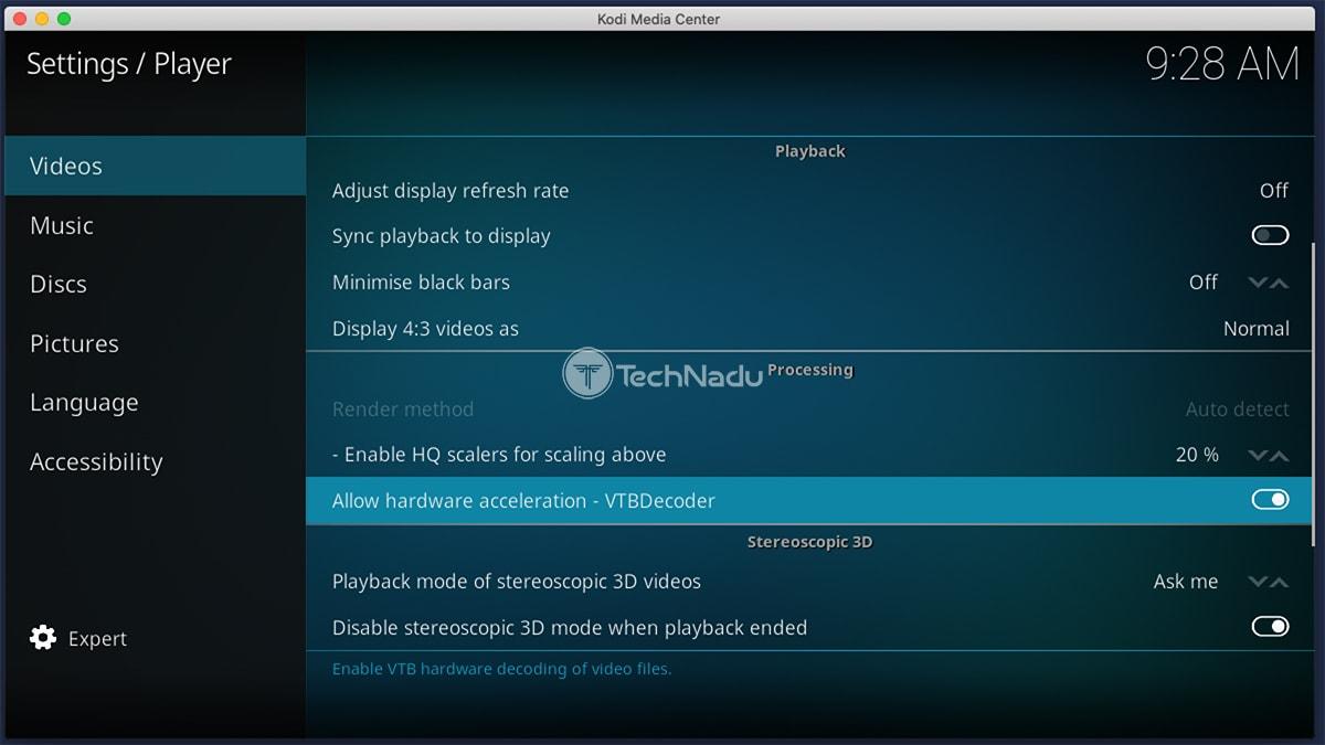 Kodi Settings Hardware Acceleration