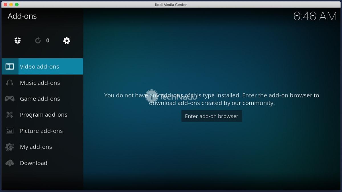 Kodi Video Addons UI Screen