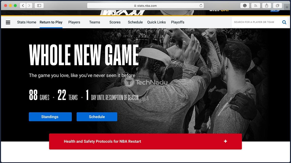 NBA 2020 Restart Official Website