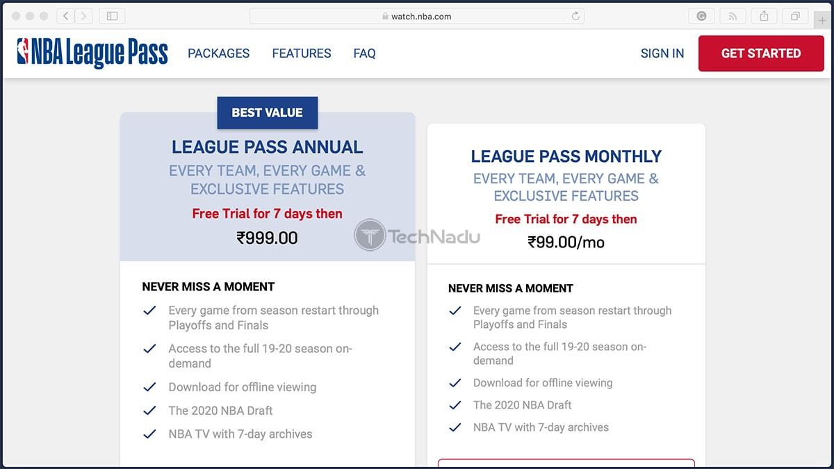 NBA League Pass International Indian Pricing