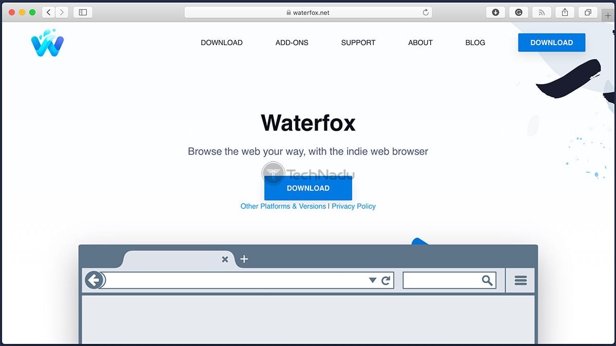 Waterfox Browser Homepage