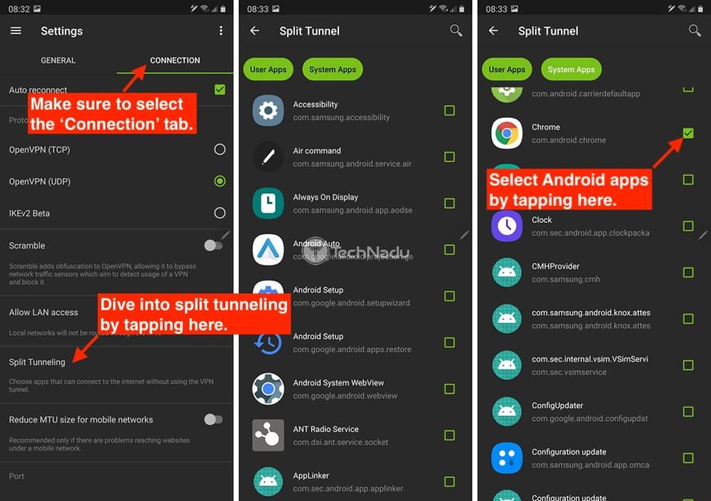 Activating Split Tunneling via IPVanish on Android