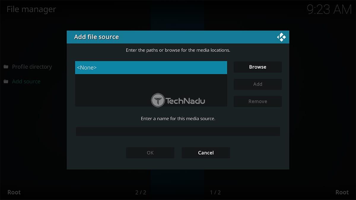 Adding New Source via Kodi File Manager