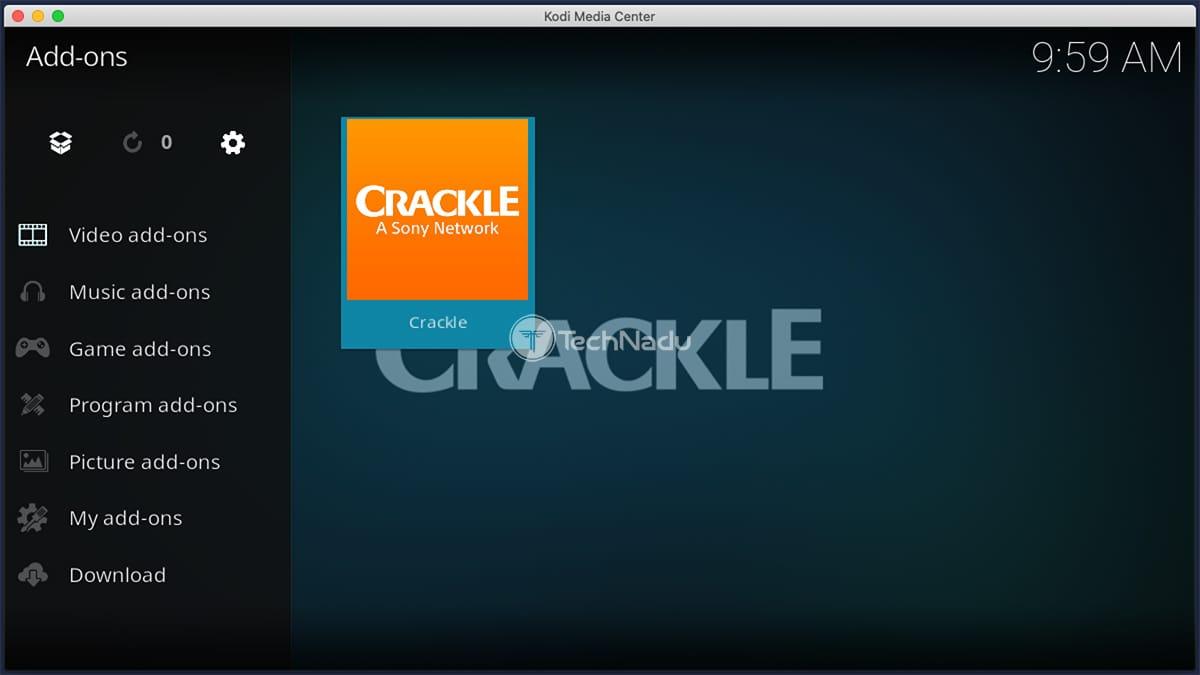 Crackle Kodi Addon Installed