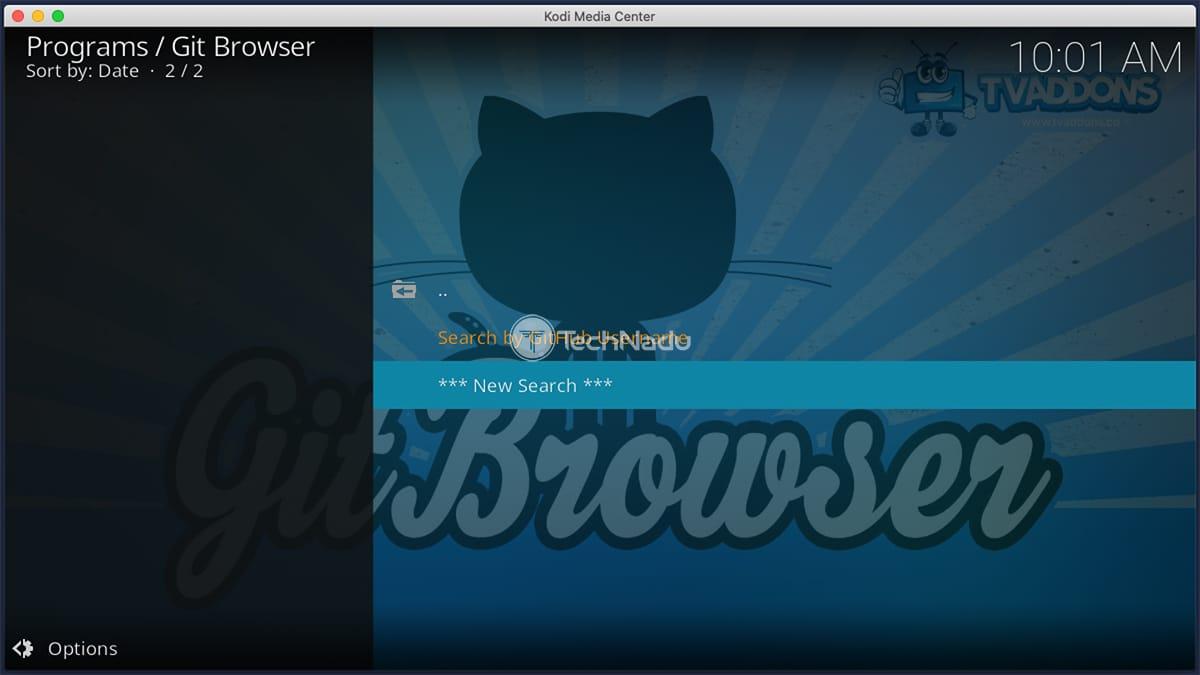 Doing Search in Git Browser on Kodi
