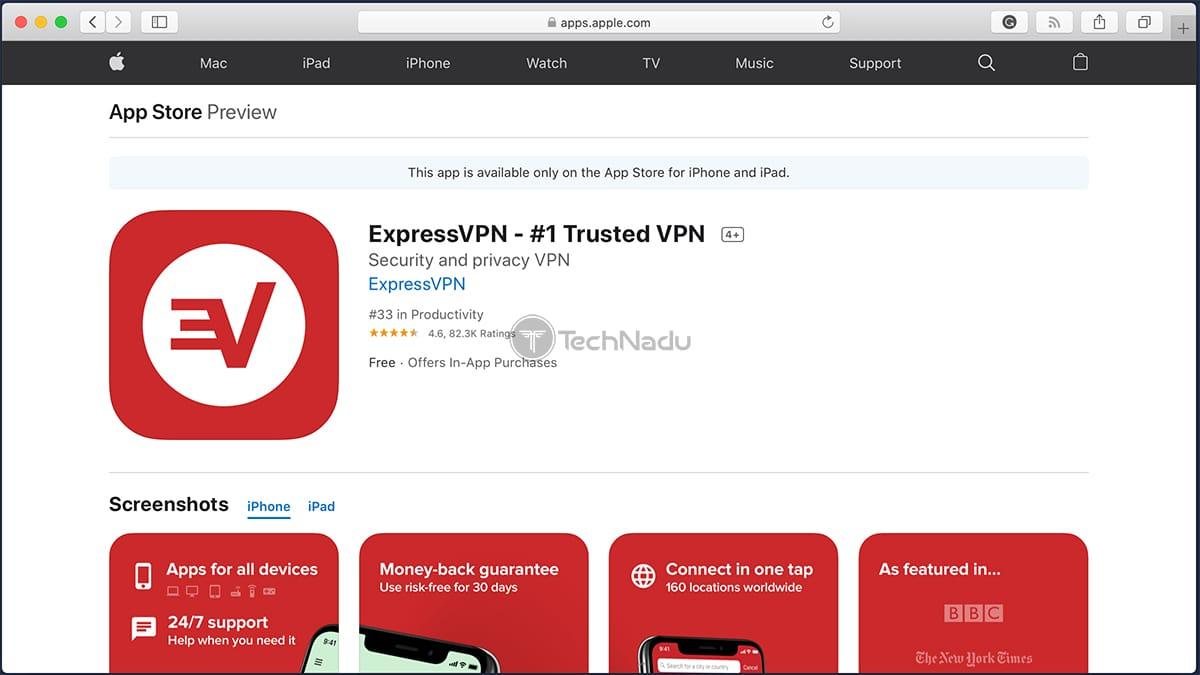 ExpressVPN Listing on iOS App Store