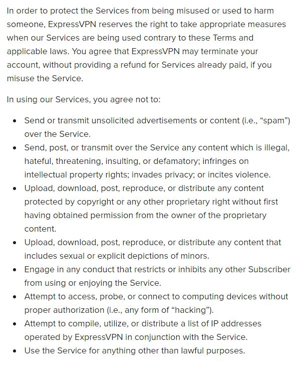 List of things that can result in your not getting an ExpressVPN refund.