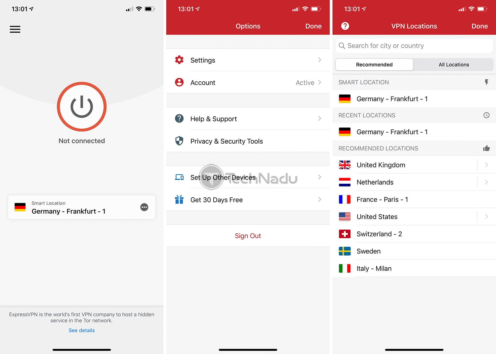 ExpressVPN iPhone VPN Interface