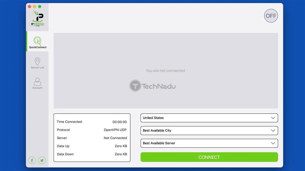 Home Screen of IPVanish on macOS