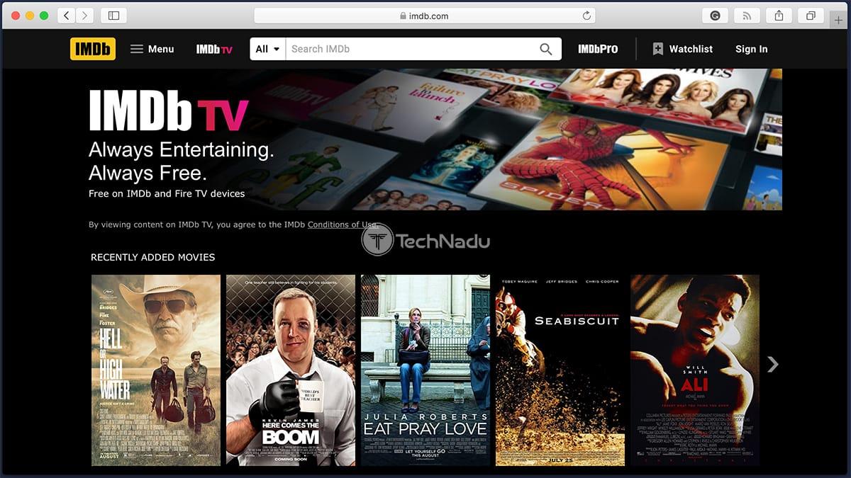 IMDb TV Homepage