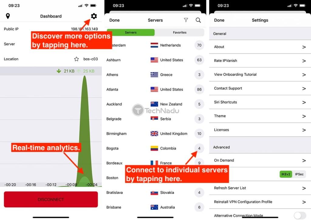 IPVanish Interface on iOS