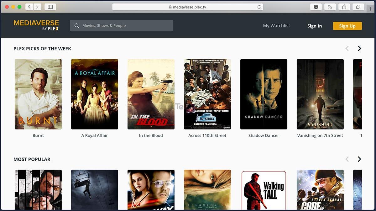 Plex TV Free Library of Movies