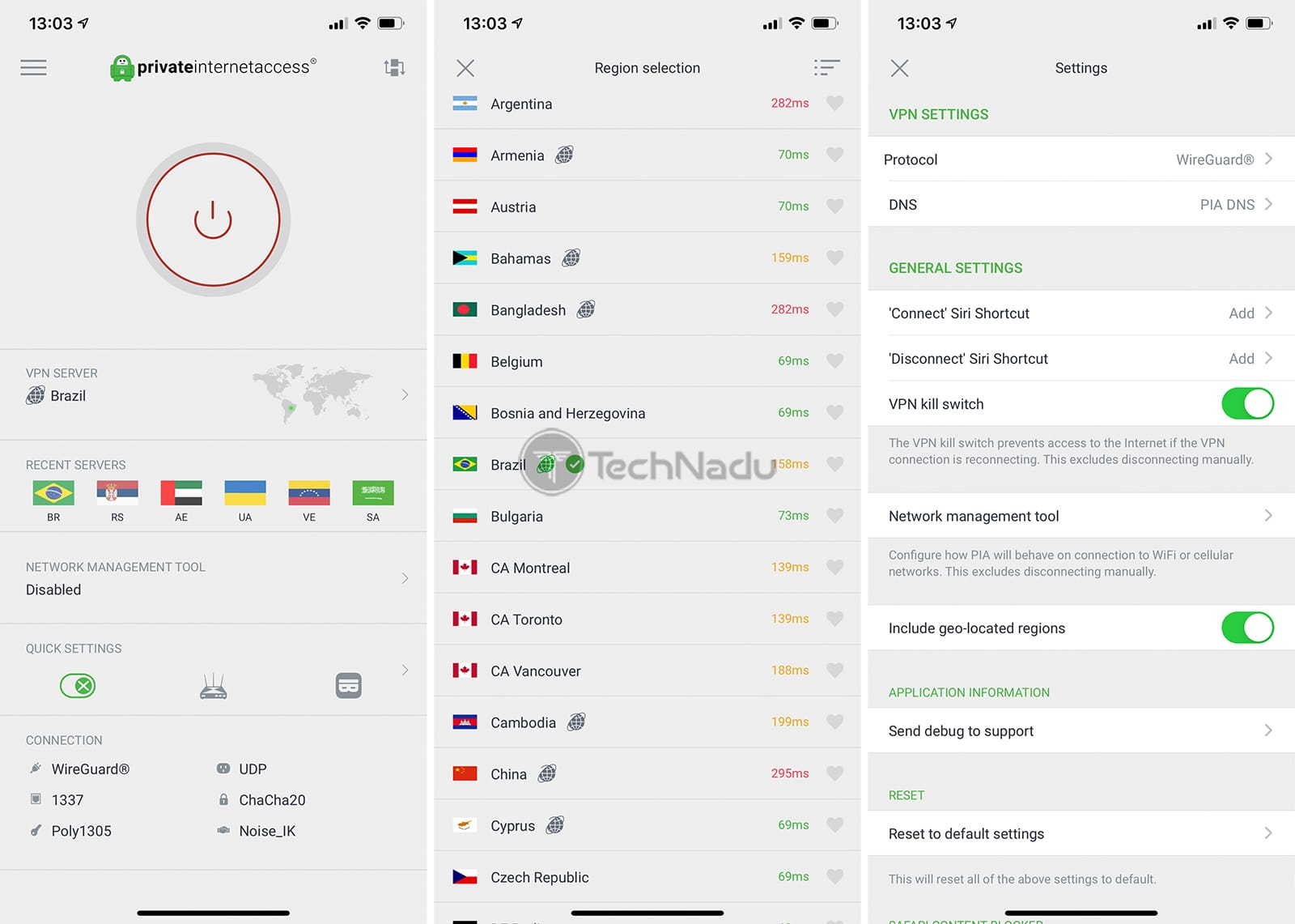 Private Internet Access VPN App Interface on iOS