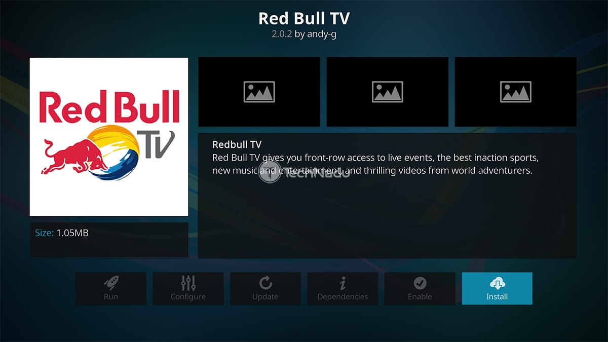 Red Bull TV Overview Interface on Kodi