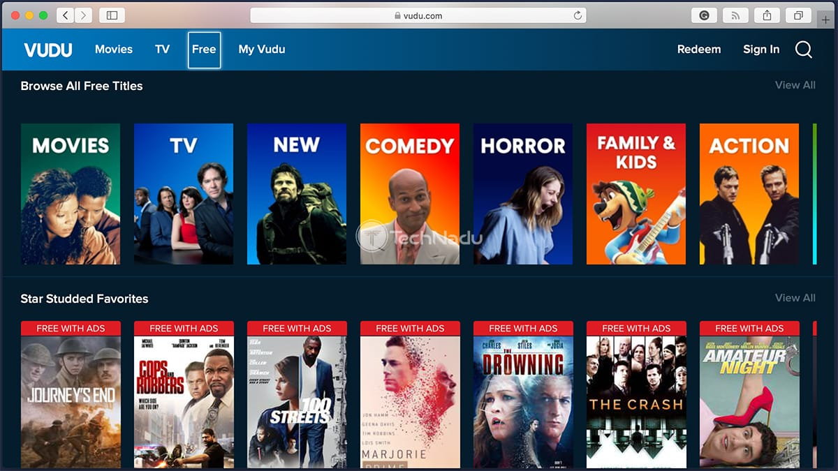 Selection of Free Movies on Vudu
