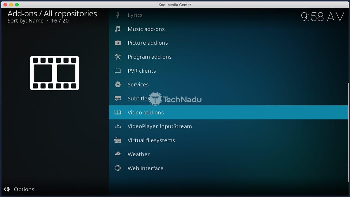 Video Addons Interface Kodi