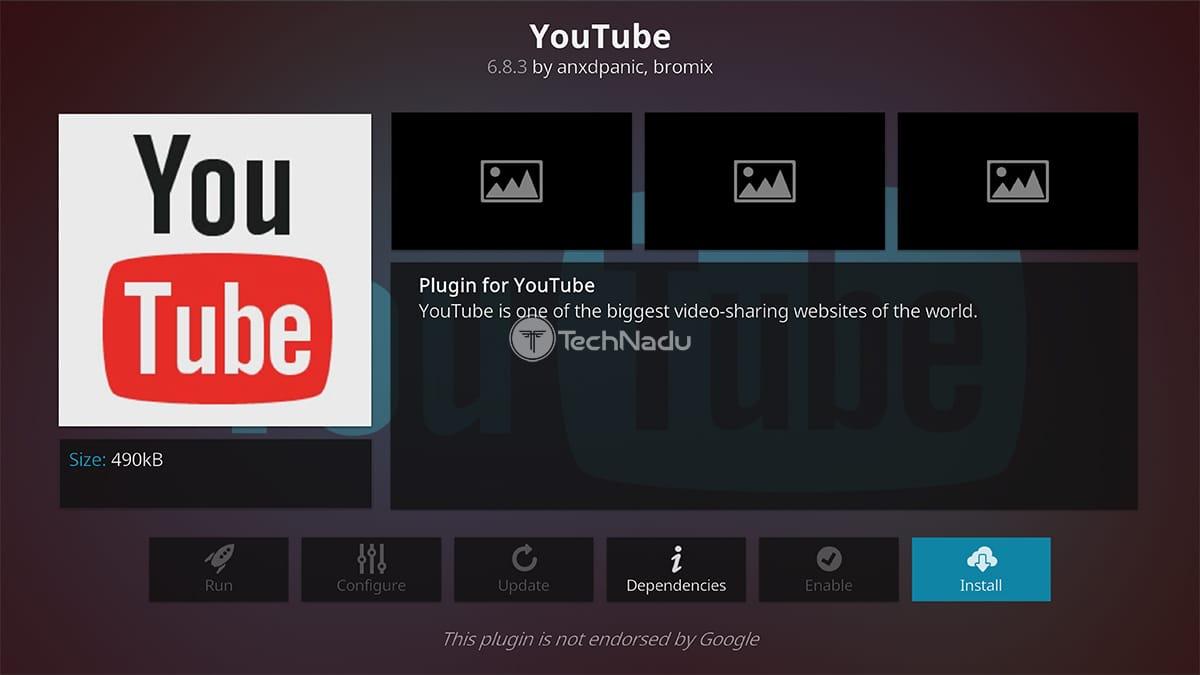 YouTube Installation Overview Kodi Interface
