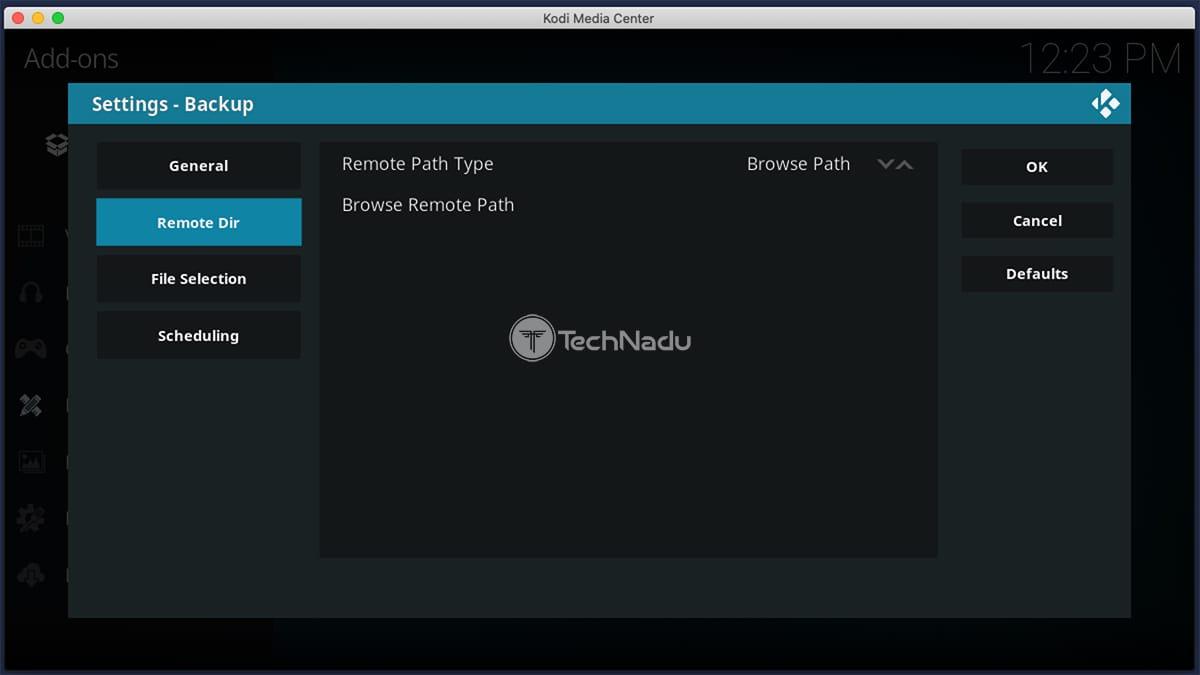 Choosing a Remote Directory for Kodi Backups