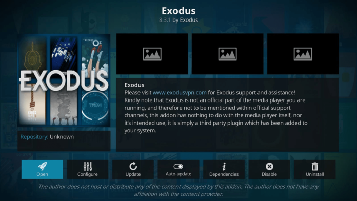 Exodus Kodi Addon Overview Interface